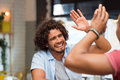 Friend giving high five Royalty Free Stock Photo