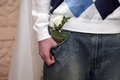 Friend of the groom with the wedding flower in pocket your jeans Royalty Free Stock Image
