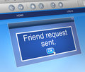 Friend request concept illustration depicting a computer dialogue box with a Royalty Free Stock Photo
