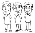 Friend sketch cartoon illustration of three smiling Stock Photography