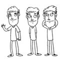 Friend sketch cartoon illustration of three smiling Royalty Free Stock Images