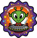 Friendly Alien In UFO Stock Photos