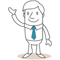 Friendly businessman standing and waving vector illustration of a monochrome cartoon character Stock Image