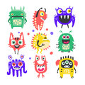 Friendly cartoon funny monsters and aliens set. Colorful collection of cute monsters Illustration Royalty Free Stock Photo