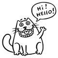 Friendly cat says hello. Speech Bubble. Vector Illustration. Royalty Free Stock Photo