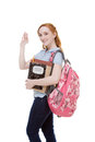 Friendly Caucasian college student with backpack Royalty Free Stock Photo