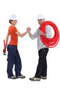 Friendly construction workers Royalty Free Stock Photography