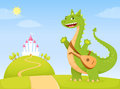 Friendly dragon bard in a fairytale kingdom Royalty Free Stock Image