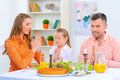 Friendly family having dinner together Royalty Free Stock Photo