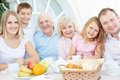 Friendly family portrait of senior and young couples with their children having dinner at home Royalty Free Stock Photo