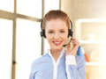 Friendly female helpline operator bright picture of Royalty Free Stock Photo