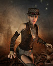 Friendly girl in steampunk look rendering of a Royalty Free Stock Photos