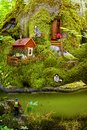 A friendly life of forest dwellers in their homes follow mosses. A children`s collage about the life of animals Royalty Free Stock Photo