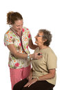 Friendly Nurse Check Elderly Senior Isolated Stock Photography