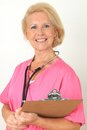 Friendly nurse with stethoscope Royalty Free Stock Photography