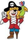 Friendly Pirate with Parrot Royalty Free Stock Photo