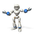 Friendly robot opens his arms kindly this is a computer generated image on white background Royalty Free Stock Photos