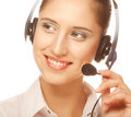 Friendly secretary portrait of telephone operator wearing headset Stock Images