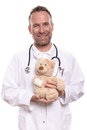 Friendly smiling paediatrician holding a teddy bear middle aged male with unshaven stubble with bandaged arm to reassure young Stock Photos