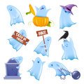 Friendly vector ghosts set of happy halloween in various situations Stock Photos