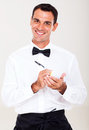 Friendly waiter taking order customer Royalty Free Stock Image