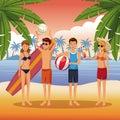 Friends in the beach cartoons