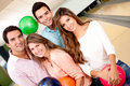 Friends bowling Royalty Free Stock Photo