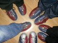 Friends with bowling shoes Royalty Free Stock Photo
