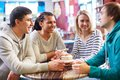 Friends in cafe image of teenage spending time Royalty Free Stock Photo