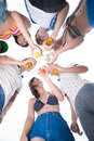 Friend�s clicking angle view of people with beverages outside Royalty Free Stock Photo