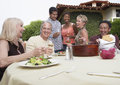 Friends Eating And Drinking In Garden Royalty Free Stock Photo