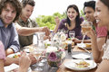 Friends enjoying dinner party outdoors group of multiethnic Royalty Free Stock Photography