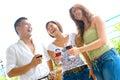 Friends enjoying time socializing Stock Image