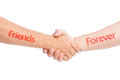 Friends forever concept using two hand shaking isolated on white background Stock Photo