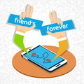 Friends Forever Social Network Communication Friendship Day Banner Royalty Free Stock Photo