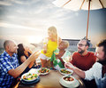 Friends Friendship Outdoor Dining Beach Concept Royalty Free Stock Photo