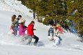 Friends have fun at winter on fresh snow happy group healthy young people outdoor Royalty Free Stock Images
