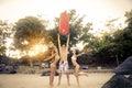 Friends having fun on the beach Royalty Free Stock Photo