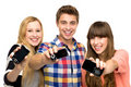 Friends holding mobile phones Stock Photos