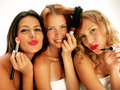 Friends and makeup. Royalty Free Stock Photos