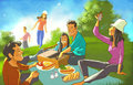 Friends meeting outdoor on the picnic Royalty Free Stock Photography