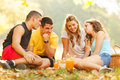 Friends on picnic selected focus the girl in white shirt Stock Photography