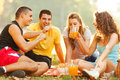 Friends on picnic selected focus the girl in white shirt Stock Photo