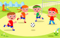 Friends playing soccer at the park