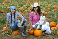 Friends in a Pumpkin Patch Stock Images