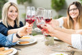Friends raising their wine glasses for a toast Royalty Free Stock Photo