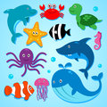 Friends from the sea vector illustration of cute cartoon animals including dolphin clown fish shark whale and others vector eps Royalty Free Stock Photos