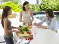 Friends socializing while preparing food at countertop happy young women chopping vegetables with men holding wineglass outdoors Stock Images