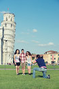 Friends Taking Photo whit Pisa Leaning Tower Stock Photos