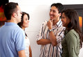 Friends talking at home Stock Image